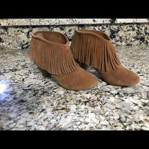 ***Leather Fringe Betsey Johnson Booties***